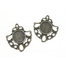 2 Supports Connecteur Bronze pour Cabochon 12mm pour la Création de Bijoux Fantaisie - DIY