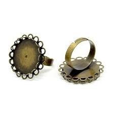 Support Bague Ajustable Bronze pour Cabochon 20mm pour la Création de Bijoux Fantaisie - DIY