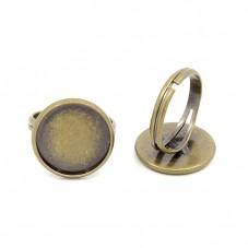 2 Supports Bague Ajustable Bronze pour Cabochon 16mm pour la Création de Bijoux Fantaisie - DIY