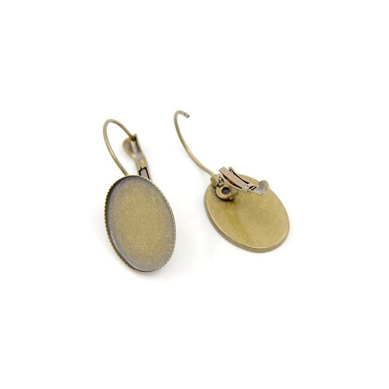 1 paire de support boucle d 39 oreille dormeuse bronze pour cabochon 13x18mm fantasyline. Black Bedroom Furniture Sets. Home Design Ideas