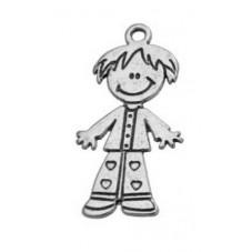 4 Breloques Enfant Garçon École Argenté 14x29mm pour la Création de Bijoux Fantaisie - DIY