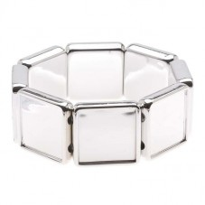 Support Bracelet Elastique Argenté pour Cabochon 20mm pour la Création de Bijoux Fantaisie - DIY