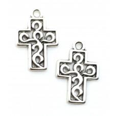 10 Breloques Croix Argenté Gothique 18x12mm pour la Création de Bijoux Fantaisie - DIY