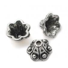 8 Coupelles Calottes Cône Fleur Argenté 9x5mm pour Perles