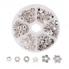 Boîte de 180 Coupelles Calottes pour Perles Argenté 4-10mm pour la Création de Bijoux Fantaisie - DIY