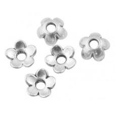 20 Coupelles Calottes Fleur Argentée 6,5mm pour Perles