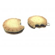 2 Breloques Biscuit Croqué au Chocolat en Fimo 17mm pour la Création de Bijoux Fantaisie - DIY