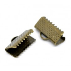 10 Embouts Pinces Griffes Attaches Bronze pour Ruban 16mm pour la Création de Bijoux Fantaisie - DIY