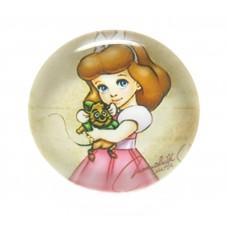 Cabochon en Verre Illustré Princesse 20mm pour la Création de Bijoux Fantaisie - DIY