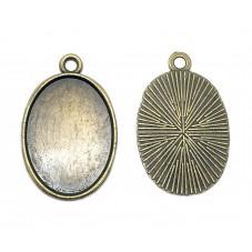 2 Supports Pendentif Bronze pour Cabochon 18x25mm pour la Création de Bijoux Fantaisie - DIY