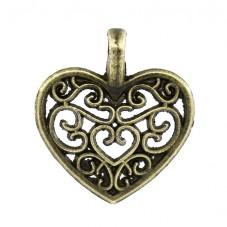 5 Breloques Coeur Ajouré Filigrane Bronze 14x16mm pour la Création de Bijoux Fantaisie - DIY