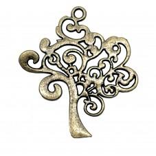 2 Breloques Arbre Bronze 42x37mm pour la Création de Bijoux Fantaisie - DIY