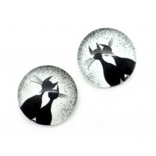 2 Cabochons en Verre Illustrés Chats Amoureux Noir et Blanc 12mm pour la Création de Bijoux Fantaisie - DIY
