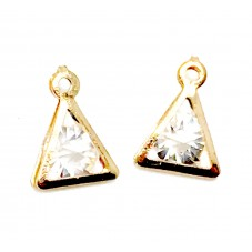 4 Breloques Triangle Doré Imitation Diamant 15x10mm pour la Création de Bijoux Fantaisie - DIY