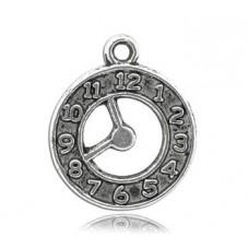 5 Breloques Horloge Argentée Thème Alice au Pays des Merveilles 21x18mm pour la Création de Bijoux Fantaisie - DIY