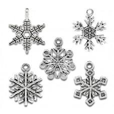 5 Breloques Flocon de Neige Argenté Noël 19-25mm pour la Création de Bijoux Fantaisie - DIY